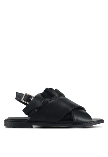 Something Borrowed black Ruffled sandals C50D1SHD558D69GS_1