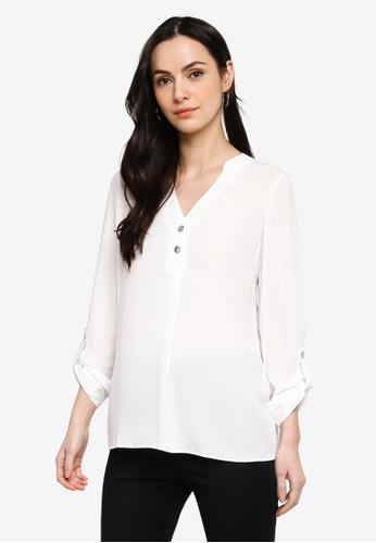 Dorothy Perkins white Flow Ivory 2 Button Roll Sleeve Top 083AAAA9BA775EGS_1