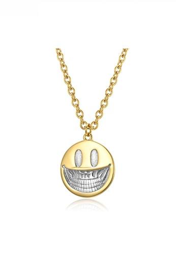 HAPPY FRIDAYS gold Pop Art Devil Smile Face Pendant Necklace JW QF-DZ295 901A8AC5E18E3BGS_1