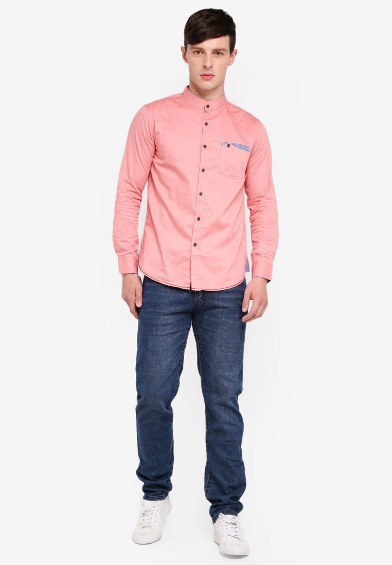 Mandarin Button Long Shirt Sleeves Peach Collar Fidelio Pocket vvHxZ6