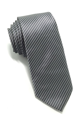 Splice Cufflinks Regalia Series Dark Grey Stripes Polyester Fabric Tie SP744AC47QNWSG_1