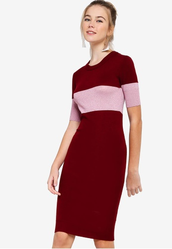 Something Borrowed red Colorblock Lurex Midi Dress BCBC4AA0E16D71GS_1