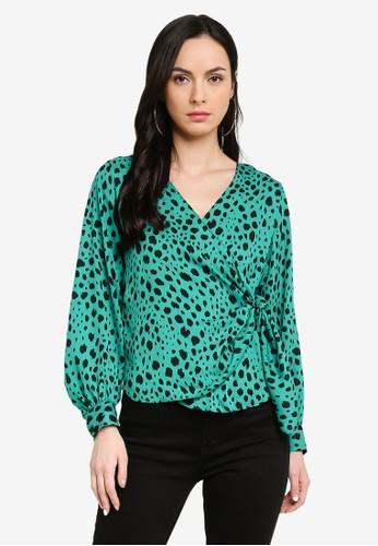 Dorothy Perkins green Green Animal Print Wrap Long Sleeve Top 0954FAABE51309GS_1
