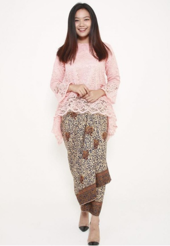 Naphthys Collection brown and multi and beige and navy Batik Skirt/Sarong 48E40AA386DC21GS_1
