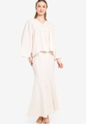 Lubna beige Peasant Sleeve Kurung With Trimming F1B0DAA83317ABGS_1