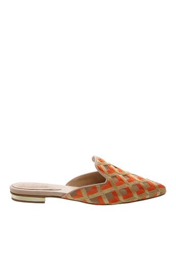 SCHUTZ orange Orange/Gold Flat Mule - S/SORAYA [NATURAL] E2FBDSH9860A87GS_1
