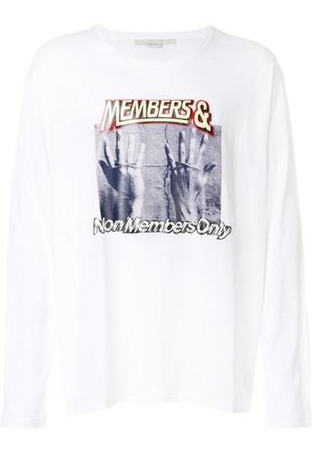 Stella Mccartney white Stella Mccartney Printed Members Long Sleeve T-Shirt in White 8382FAA7AD5E5FGS_1