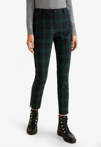 Mango blue and navy Straight Checkered Trousers B75CCAA5AB6F99GS_1