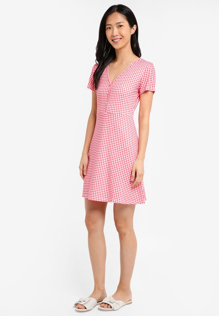 Red 2 BASICS Tea Essential ZALORA Pack Gingham Dress Black xqFfxBwT