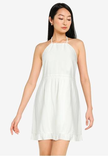 ZALORA BASICS white Halter Neck Summer Dress BC24DAAC1189CCGS_1