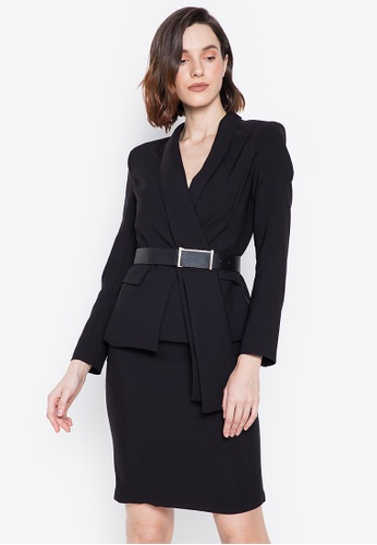 Well Suited black Modern Skirt Suit with Belt 69625AA18800A0GS_1