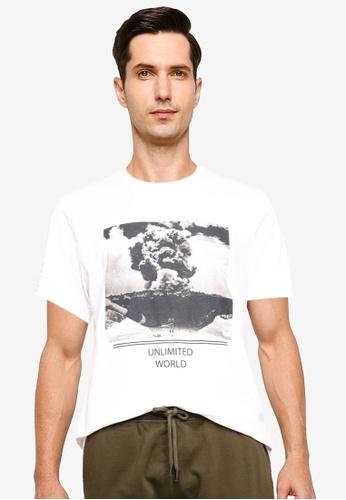 !Solid white Lerado Graphic Print T-Shirt 5BA68AA64FCAACGS_1