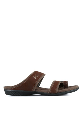 Louis Cuppers brown Double Strap Sandals LO977SH0S9SDMY_1
