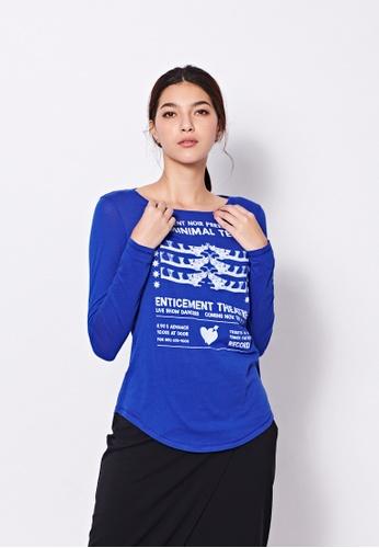 Sisley blue Printed T-shirt 5C0A8AAB01A4C0GS_1
