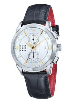 CCCP 男仕黑色真皮皮革腕錶 - CP-7002-03