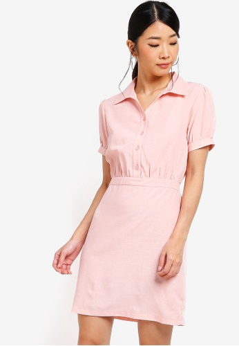 Something Borrowed pink Button Down Fit And Flare Shirt Dress 6175DAAE7085B1GS_1