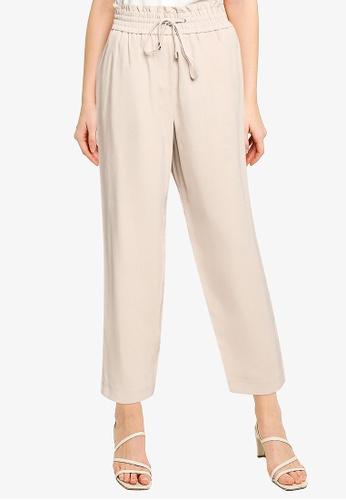 Forever New beige Jen Elastic Waist Relaxed Pants F12B6AA9150DD0GS_1