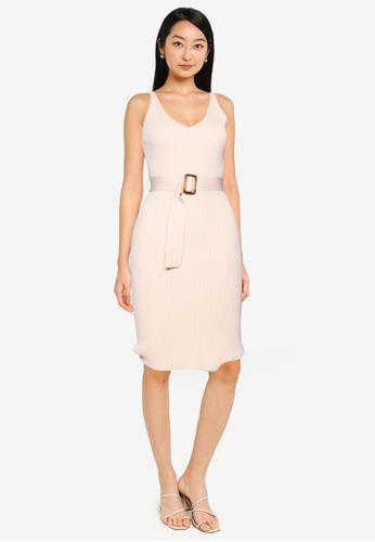 ZALORA BASICS beige V Neck Knit Dress 8F2D1AADB6E60DGS_1