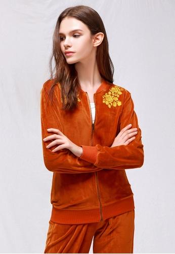 London Rag brown Honey Brown Velvet Embroidery Jacket DB5BBAA37B9E5CGS_1