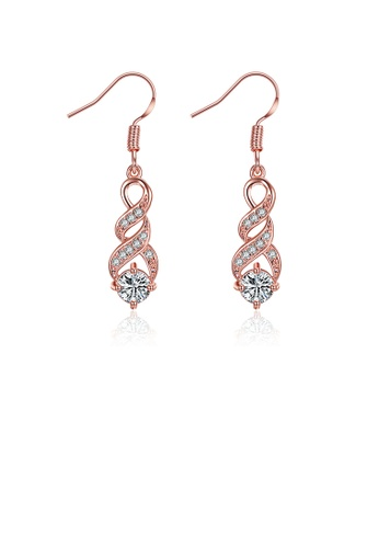 Glamorousky white Fashion Plated Rose Gold Earrings with Cubic Zircon A4608ACFD310FAGS_1