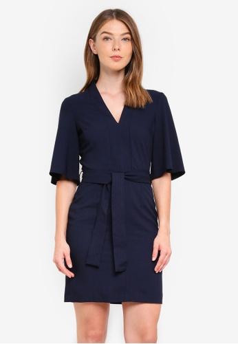 Miss Selfridge navy Tie Kimono Sleeve Dress Navy 86D0CAA53C62FAGS_1