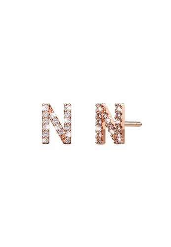 925 Signature silver 925 SIGNATURE Solid 925 Sterling Silver Glamour Alphabet Letter Earrings Rose Gold - N 0FCB5ACBD572B1GS_1