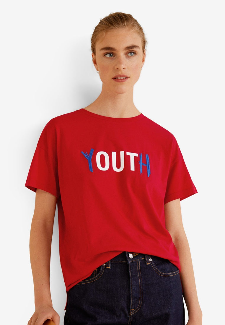 Organic Cotton Red Shirt Message T Mango Hqdax0wUFU
