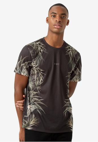 Burton Menswear London black Black Floral NYC Recycled T-shirt 4E3C6AA47C9D8EGS_1