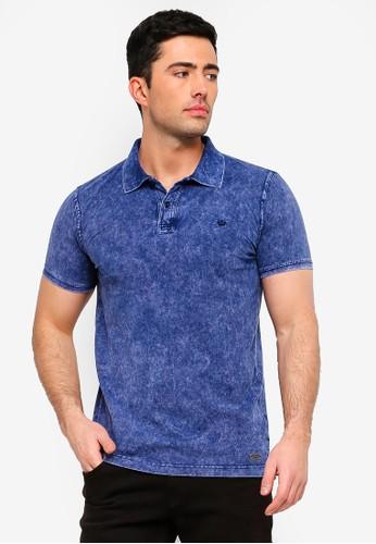 Brave Soul blue Denim Print Polo Shirt 8A6A5AA8A290FCGS_1