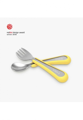 Viida [VIIDA] The Soufflé Kids Antibacterial Stainless Steel Fork and Spoon Set, Lemon Yellow (Small) for Toddler 6 Months to 2 Years Old Children - Eco-Friendly, Safe, FDA Certified, SGS Tested 5B6FDHL31CD174GS_1