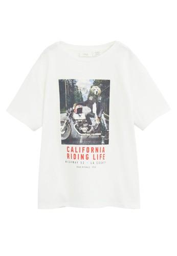 MANGO KIDS white Printed Cotton-blend T-shirt CD2B1KA6850505GS_1