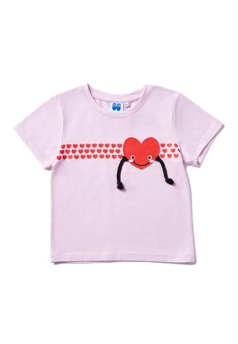 Vauva purple Vauva Hauska Kids 3D Little Heart Tee - Purple B671CKAD3CBD4AGS_1