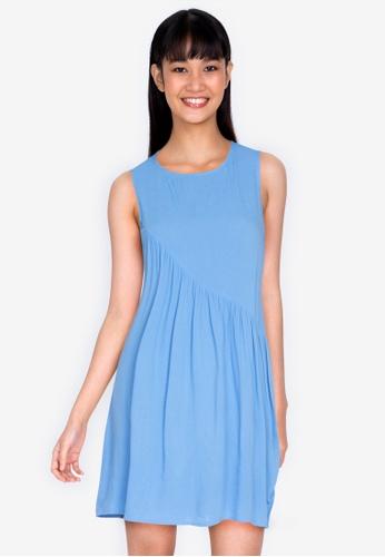 ZALORA BASICS blue Basic Asymmetric Frill Sleeveless Dress 9C357AA9F39DB0GS_1