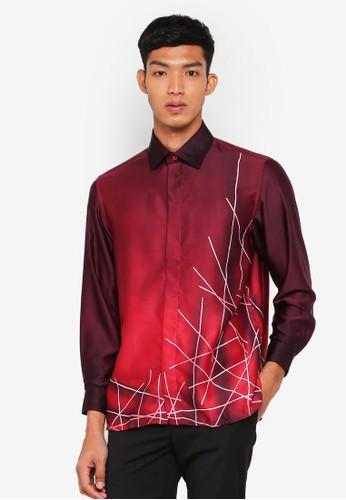 Gene Martino red Batik Abstract Top B07BEAA624681DGS_1