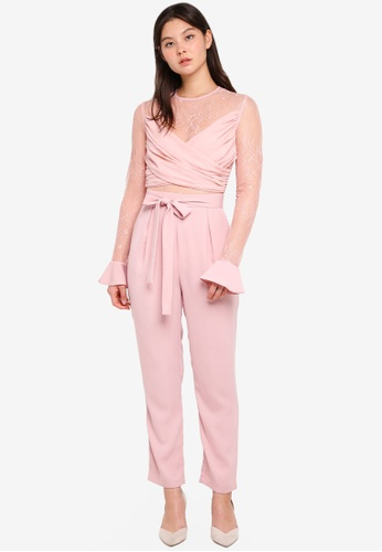 True Decadence pink Sheer Jumpsuit With Ruffle Sleeve 91913AACDEB1AAGS_1