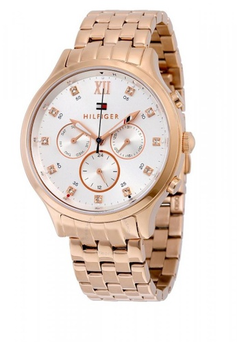 02216ebc59f TOMMY HILFIGER Amelia Multi-Function Silver Dial Rose Gold-tone Ladies Watch