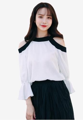 Shopsfashion white Split Shoulder Color Block Blouse 80A71AA1E39A58GS_1