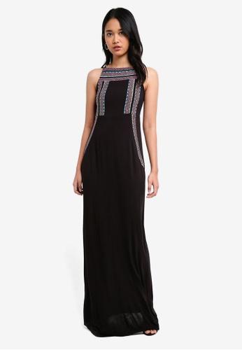 TOPSHOP black Aztec Embroidered Maxi Dress 10144AA4174FE8GS_1