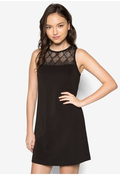 Lace Yoke Sleeveless Shift Dress