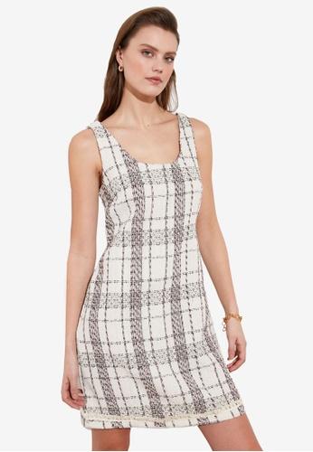 Trendyol white Sleeveless Tweed Dress 9E562AADF83390GS_1