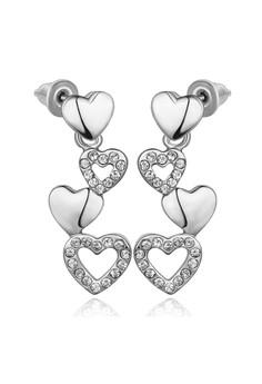 White Gold Plated Trina Heart Dangling Earrings