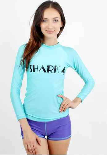 Shapes and Curves blue Shark Print Pastel Rashguard Two Piece Set SH408US42CGFPH_1