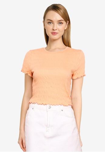 Vero Moda orange Short Sleeve Crop Top 55CD1AAC8E446AGS_1