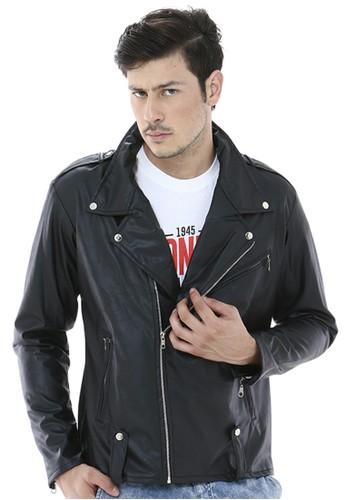 Crows Denim black Crows Denim - Leather Jacket Hitam Casual Trendy CR199AA46QDHID_1