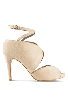Something Borrowed beige Peep Toe Ankle Strap Bootie Heel 38DF8SH2852B46GS_1