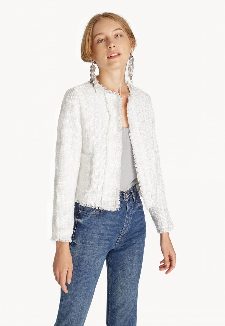 Pomelo White Contrast Tweed Blazer White Trim qwC7Aq
