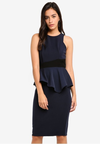MDSCollections navy Contrast Peplum Dress In Midnight 91A97AAC37F76CGS_1