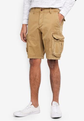Hollister brown Cargo Shorts 6A5BEAAD053E99GS_1