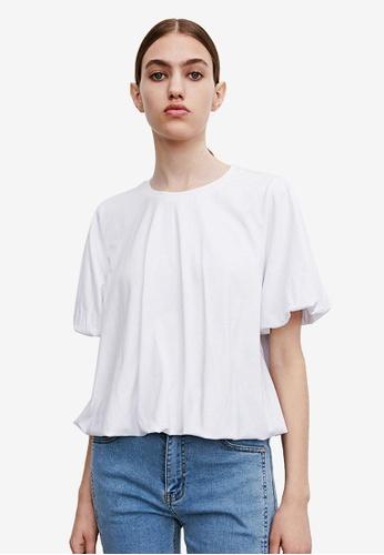 Urban Revivo white Puffed Sleeves Top 00FE4AA6DD474AGS_1