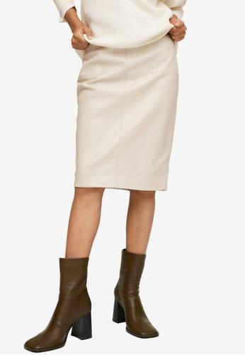 Mango beige Faux-Leather Pencil Skirt 35039AACDA2CD0GS_1